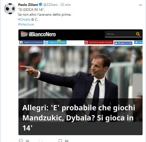 Inter juventus ziliani contro allegri giocate in 14 for Ziliani twitter